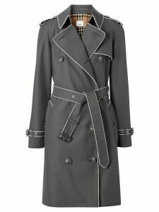 Burberry contrast piped trim trench coat - Grey