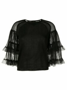 Giambattista Valli crew neck ruffled top - Black