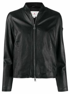 Peuterey fitted leather jacket - Black