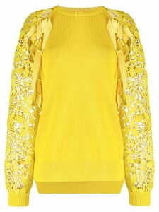 Nº21 lace sleeve knitted top - Yellow