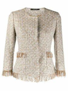Tagliatore fringed tweed jacket - NEUTRALS
