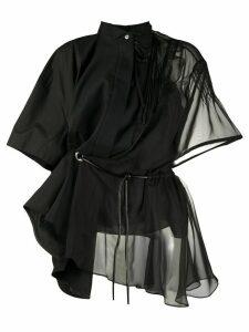 Sacai asymmetric chiffon shirt - Black