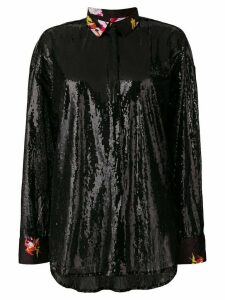 MSGM long-sleeve sequinned shirt - Black