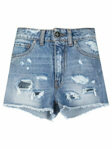 John Richmond distressed denim shorts - Blue