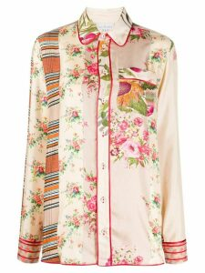 Pierre-Louis Mascia mixed-print silk shirt - PINK