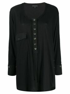 Ann Demeulemeester round neck cotton blouse - Black