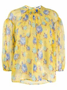 MSGM floral print silk blouse - Yellow