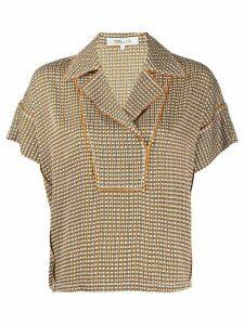 DVF Diane von Furstenberg geometric-print notched-collar shirt -