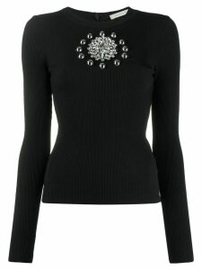 Christopher Kane crystal-embellished ribbed jumper - Black
