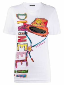 Versace embroidered western motif T-shirt - White