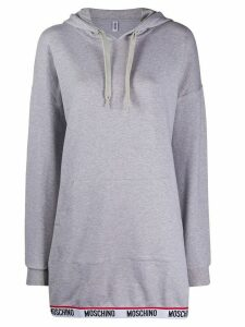 Moschino logo band knitted hoodie - Grey