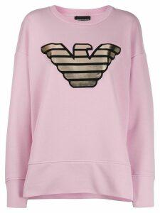 Emporio Armani metallic logo print sweatshirt - PINK