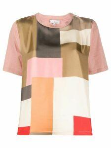 Pierre-Louis Mascia patchwork geometric-print T-shirt - PINK