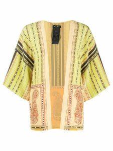 Etro short-sleeve printed robe coat - Green