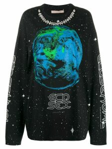 Christopher Kane earth print long-sleeve T-shirt - Black