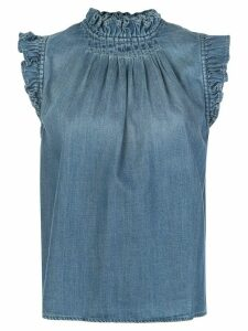 FRAME ruffled denim sleeveless top - Blue