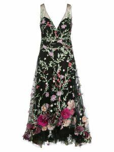Marchesa Notte floral embroidered dress - Black