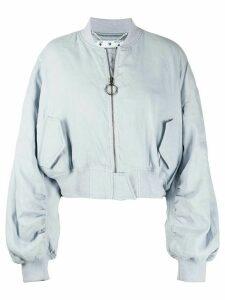 Off-White cropped bomber jacket - Blue