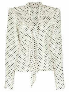 Dolce & Gabbana square-shoulder polka dot blouse - White