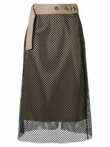Rokh mesh-overlay midi skirt - Blue