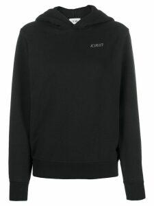 Kirin open back logo print hoodie - Black