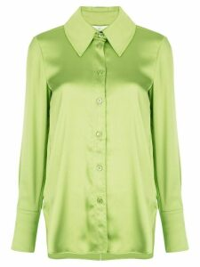 Stine Goya oversized collar satin shirt - Green