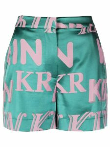 Kirin logo monogram print metallic shorts - Green