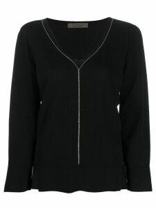 D.Exterior side slit chain embellished knitted top - Black