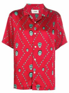 Kirin mask print oversized collar shirt - Red