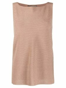 D.Exterior sleeveless metallic detail knitted top - GOLD