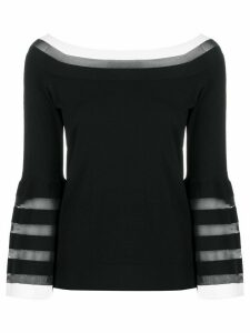 D.Exterior contrast panel striped detail knitted top - Black