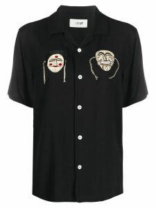 Kirin mask embroidered oversized collar shirt - Black