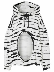 Burberry watercolour print cut-out hoodie - White