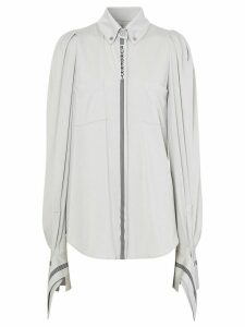Burberry stripe and logo-trimmed shirt - Grey