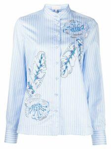 Escada Sport pin stripe leaf print shirt - Blue