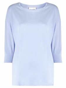 Semicouture three-quarter sleeve cotton T-shirt - Blue