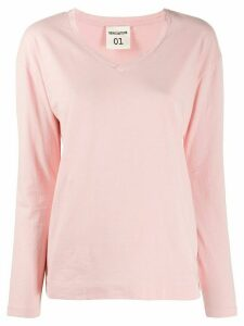 Semicouture v-neck cotton T-shirt - PINK