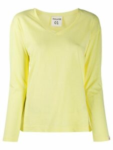 Semicouture v-neck cotton T-shirt - Yellow