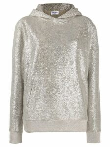 Saint Laurent metallic knit hoodie - SILVER