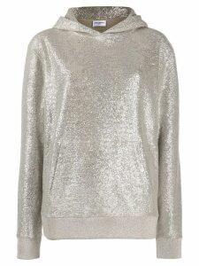 Saint Laurent metallic knit hoodie - SILVER