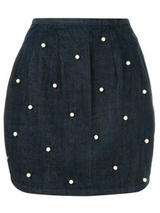 Tu es mon TRÉSOR pearl embellished denim skirt - Blue
