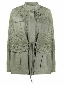 Twin-Set lace panel jacket - Green