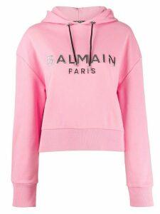 Balmain logo-print cropped hoodie - PINK