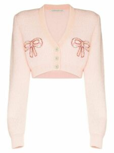 Alessandra Rich bow appliqué cropped cardigan - ORANGE