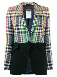 Talbot Runhof contrast panel fitted jacket - Green