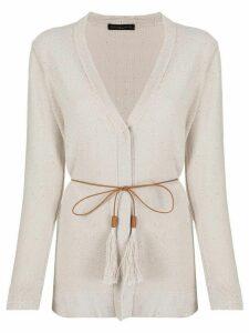 Fabiana Filippi sequin-embellished belted cardigan - NEUTRALS