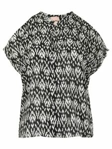 Nude abstract-print silk blouse - Black