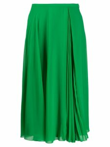 Paule Ka pleat-insert A-line midi skirt - Green