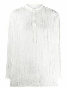 Jil Sander crinkle-effect band-collar shirt - White