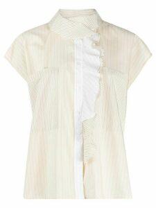 Barena ruffled detail striped shirt - NEUTRALS